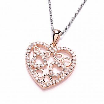Cavendish French Rose Gold and Cubic Zirconia Heart Pendant