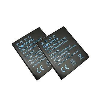 2 x Dot.Foto Olympus BLH-1 Replacement Battery - 7.4v / 1720mAh - Olympus OM-D E-M1 Mark II