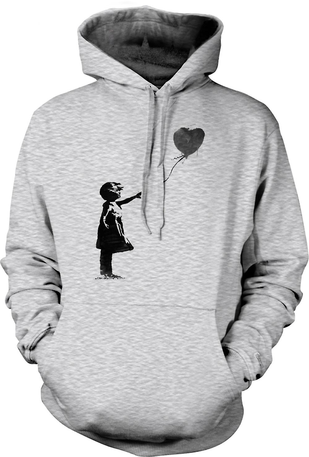 Mens Hoodie - Banksy Graffiti Art - Balloon