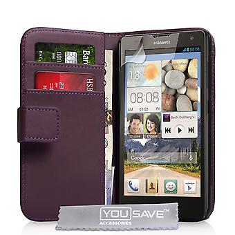YouSave Huawei Ascend G740 Leather-Effect Wallet Case - Purple