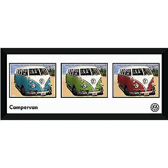 VW Camper Storyboard inramade Collector Print 75x30cm