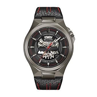 Bulova Maquina Skeleton Skull Dial Black Leather Strap Automatic Mens Watch 98A237