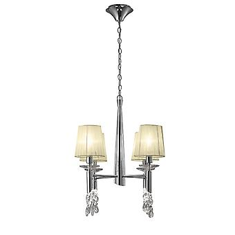 Mantra M3852 Tiffany Pendant 4+4 Light E14+G9, Polished Chrome With Cream Shades & Clear Crystal