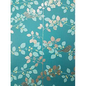 Rasch Tree Blossom Floral Wallpaper Red Gold Beige Metallic Birds Branch Leaf
