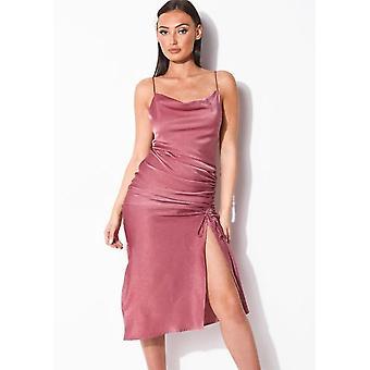 Rynkt sida splittringar kåpa hals maxi klänning rosa