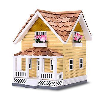Modern Home Outdoor Wooden Birdhouse, Bird-Friendly Perch (Golden Craftsman)