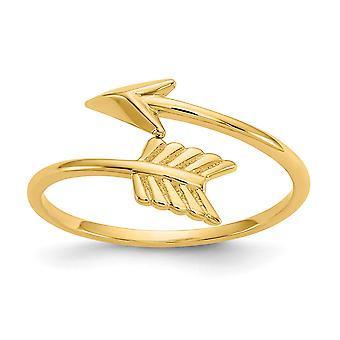 14k Yellow Gold Adjustable Arrow Ring
