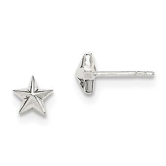 925 Sterling Silber solid poliert Post Ohrringe Stern Ohrringe - .7 Gramm