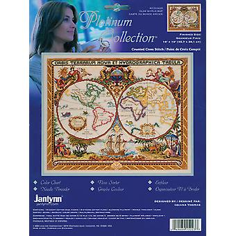 Platinum Collection Olde World Map Counted Cross Stitch Kit 18