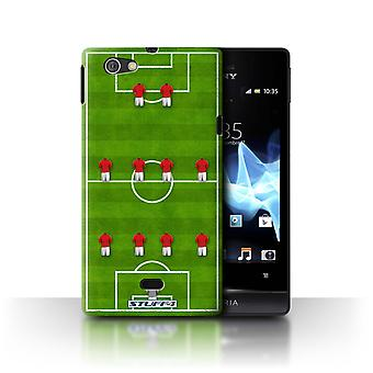 STUFF4 Case/Cover for Sony Xperia Miro/ST23I/4-4-2/Red/Football Formation