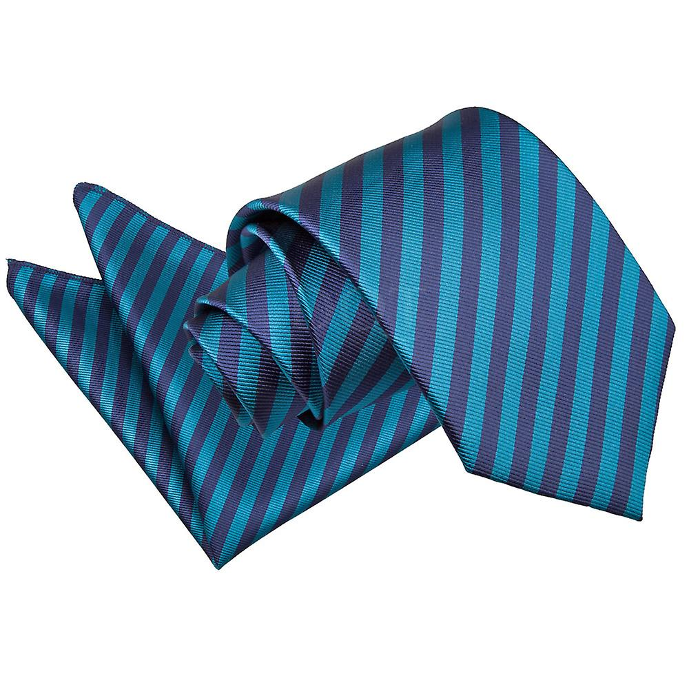 Thin Stripe Navy Blue & Teal Tie 2 pc. Set