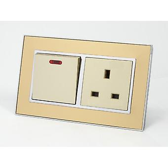I LumoS AS Luxury Gold Mirror Glass Double 45A Switch with Unswitched 13A UK Socket