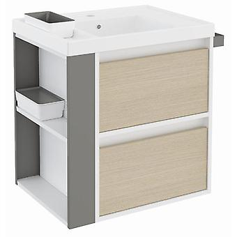Bath+ Sink cabinet 2 Drawers With Resin Oak-White-Grey 60CM