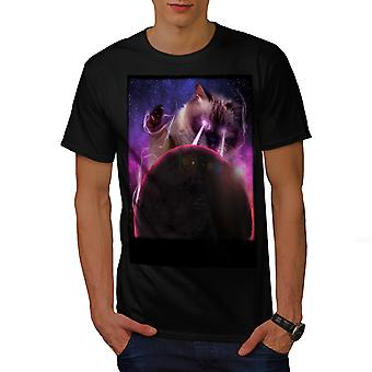 Space Cat Laser Eye Men Black T-shirt | Wellcoda
