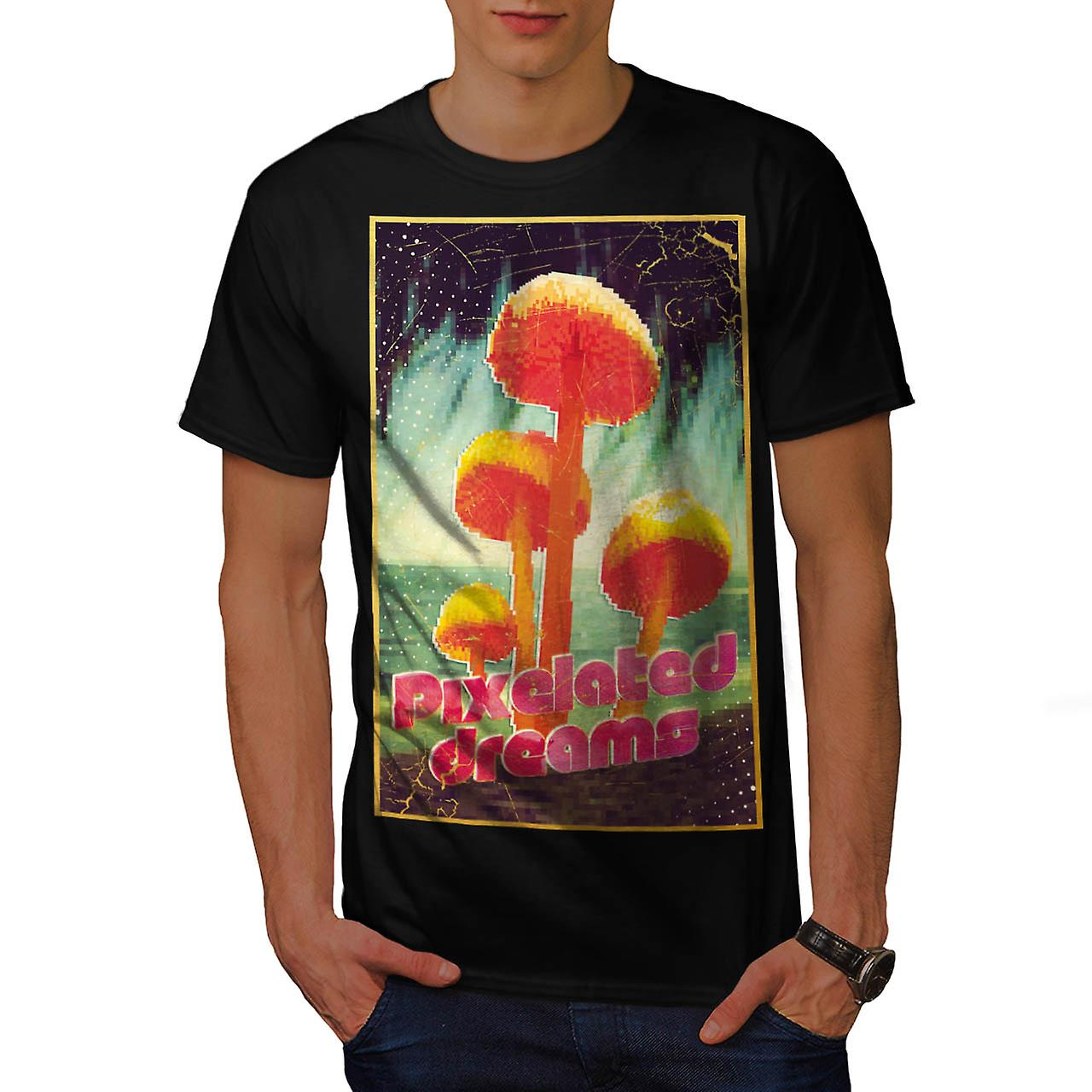 Pixelated Dreams Mushroom Fun Men Black T-shirt | Wellcoda