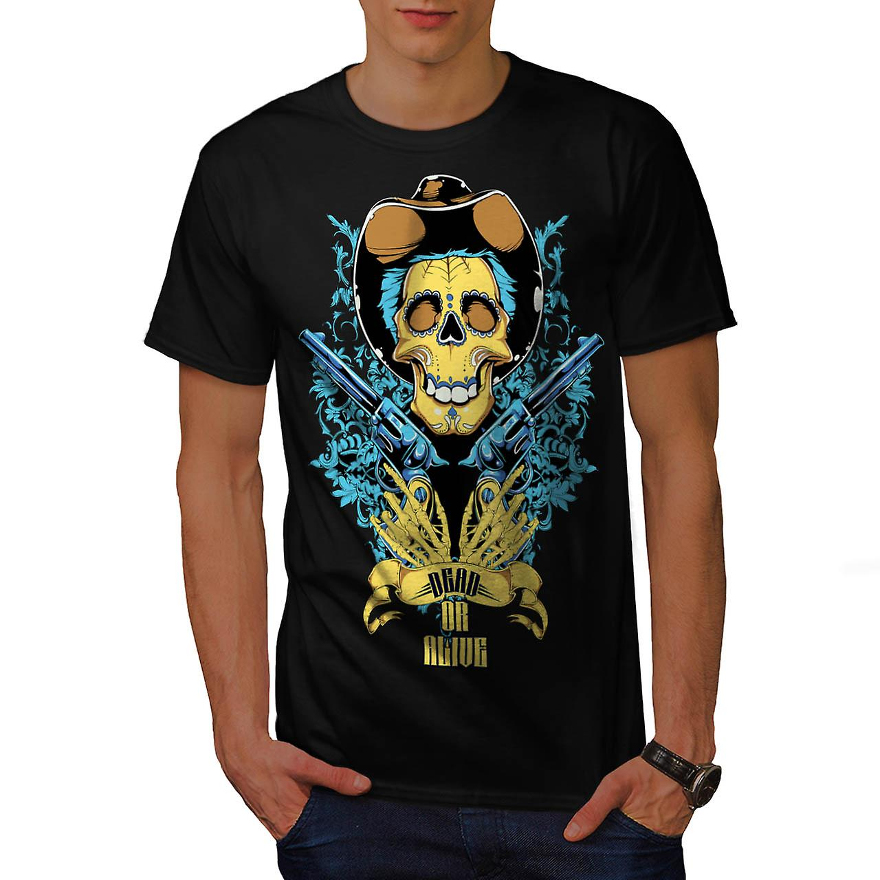 Dead Or Alive Skull Cowboy Gun Men Black T-shirt | Wellcoda