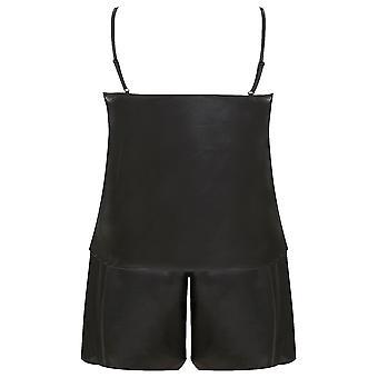 Zwart satijn Cami & korte Pyjama Set met kant Trim