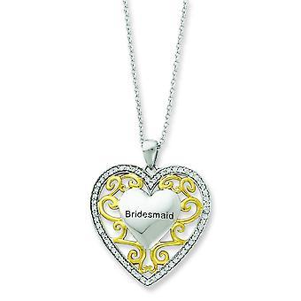 Sterling Silver Polished Spring Ring Rhodium-plated Accent gold plating Cubic Zirconia Heart Necklace - 18 Inch