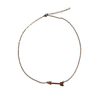Rose gold-colored minimalist statement necklace with arrow