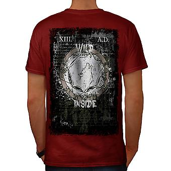 Wild binnen Wolf USA nationale mannen rode T-shirt Back | Wellcoda