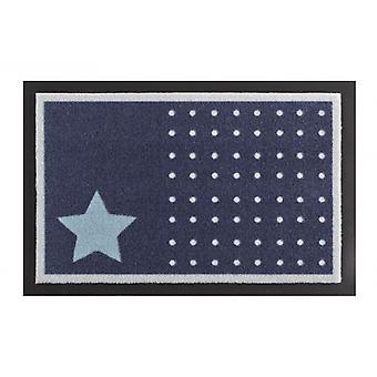 Doormat dirt trapping pad star and dots dark blue white 40 x 60 cm