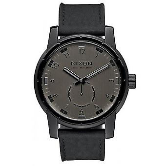 Nixon The Patriot Leather Watch - Black