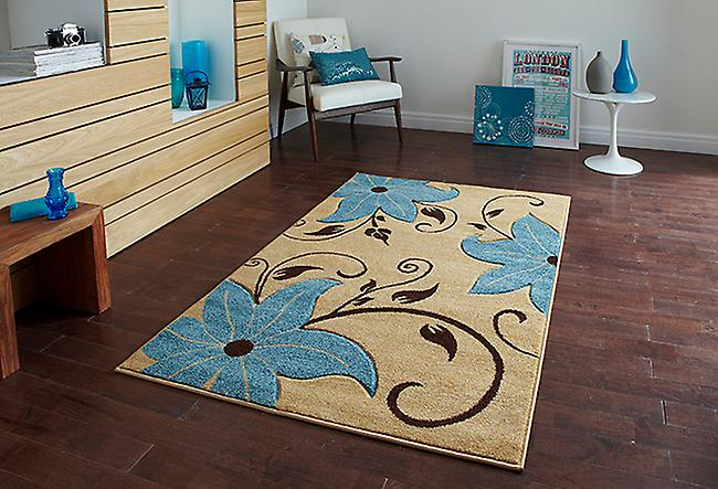 Verona OC15 Beige - Blue Beige and blue Rectangle Rugs Modern Rugs