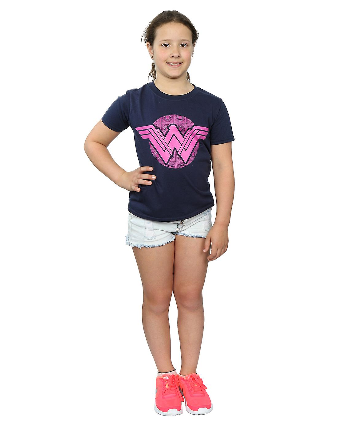 DC Comics Girls Wonder Woman Pink Mosaic T-Shirt