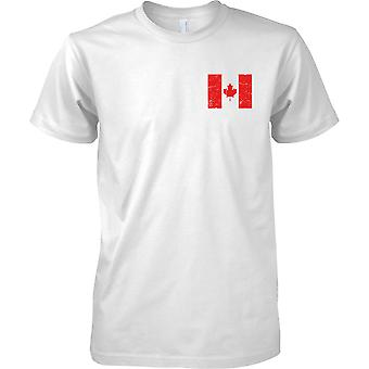 Canada Distressed Grunge Effect Flag Design - Mens Chest Design T-Shirt