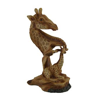 Carved Wood Look Mother Giraffe and Calf Tabletop Statue