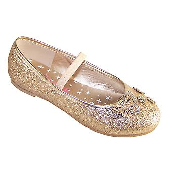 Girls gold glitter party ballerina shoes