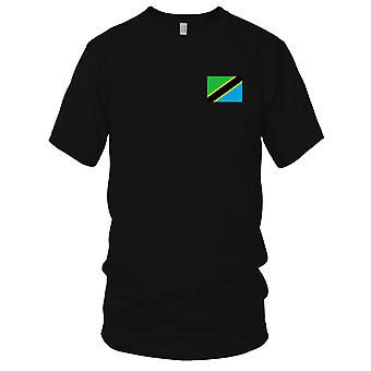 Tanzania Country National Flag - Embroidered Logo - 100% Cotton T-Shirt Ladies T Shirt