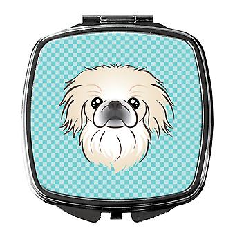 Carolines Treasures  BB1159SCM Checkerboard Blue Pekingese Compact Mirror