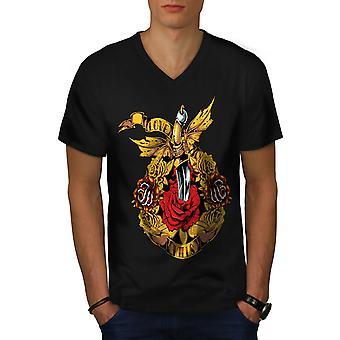 Love Kills Rose Männer BlackV-Neck T-shirt   Wellcoda