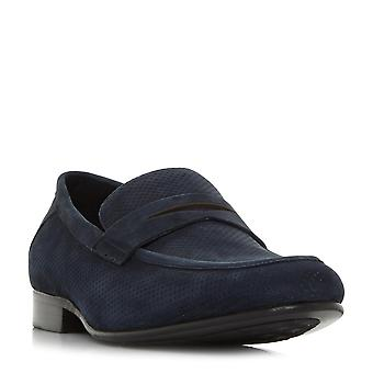 Mens dune PALAZZO perforé Penny Loafer dans Marine