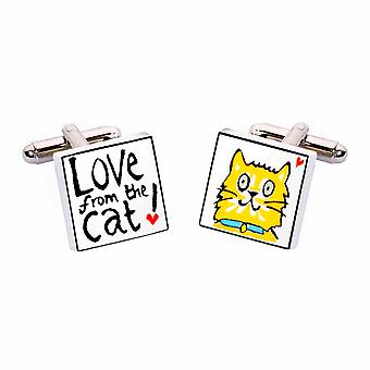 Sonia Spencer Love from the Cat Cufflinks - English Bone China Hand Crafted Cuff Links
