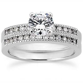 1ct Channel Set Diamond Engagement Ring Set 14k White Gold