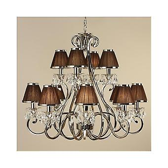 Interiors 1900 Oksana Nickel 12 Light Chandelier, Black Shades