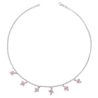 Orphelia sølv 925 halskæde 42Cm med Pink vedhæng ZK-2559