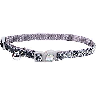 Safe Cat Jeweled Buckle Breakaway Collar W/Glitter Overlay-Silver