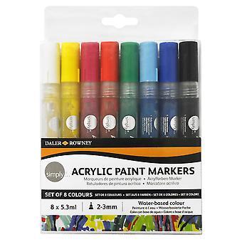 Daler Rowney helt enkelt akrylfärg markör färg uppsättning 8