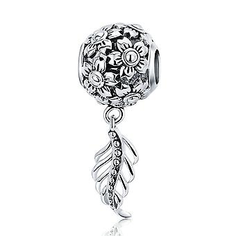 Sterling silver pendant charm Daisy flower with vintage feather SCC715