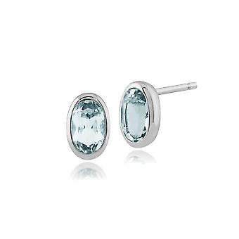Gemondo 9ct White Gold 0.46ct Aquamarine Oval Framed Stud Earrings