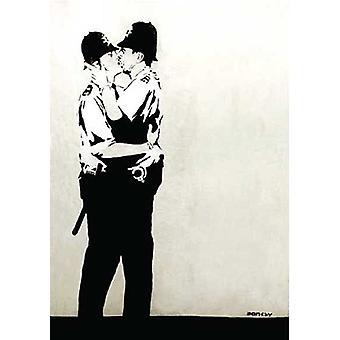 Banksy Police Kissing Full Metal Sign 380Mm X 280Mm