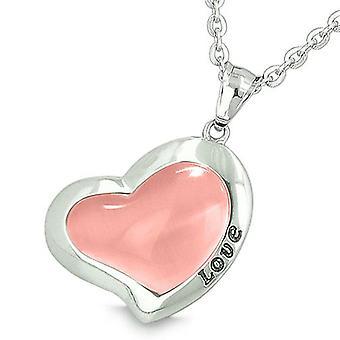 Glücklichen Herzen Ewigkeit Charme Liebe Inspiration Amulett Rosa Katzen Auge magisches Glück Anhänger Halskette