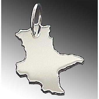 Trailer map Saxony-Anhalt pendant in solid 925 Silver