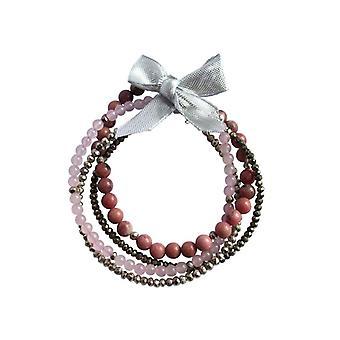 Edelsteen Armbanden instellen Rose Quartz, Rhodoniet pyriet zwart zilveren Armband set