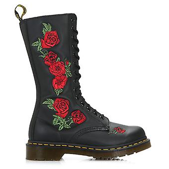 Dr. Martens Vonda Womens Black Leather Embroidered Rose Mid Calf Boots