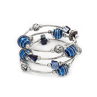 Silver Tone Beaded Multistrand Flex Bracelet - Navy Blue