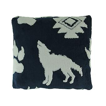 Navy and White Wolf Melange Ultra Soft Plush Fleece Throw Pillow